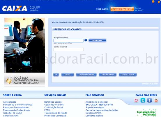 Página Inicial da Consulta FGTS